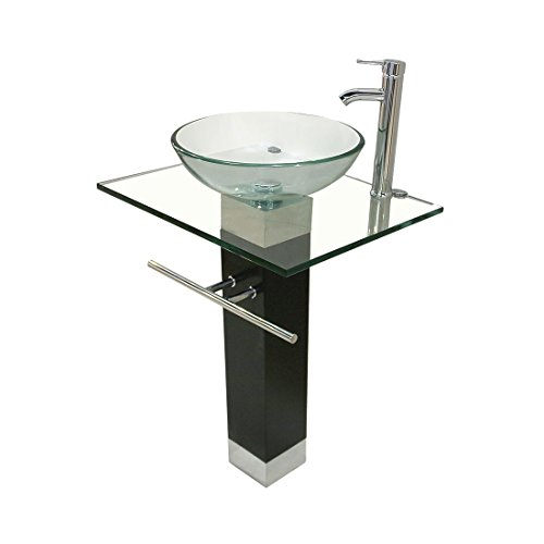 Bathroom Pedestal Tempered Clear Glass Vessel Sink & Vanity with Faucet Combo (Pedestal For Vessel Sink compare prices)