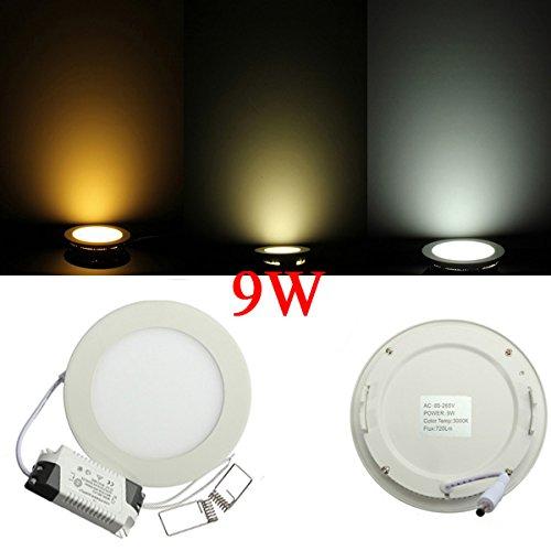 9W Round Ceiling Ultrathin Panel Led Lamp Downlight Light 85-265V