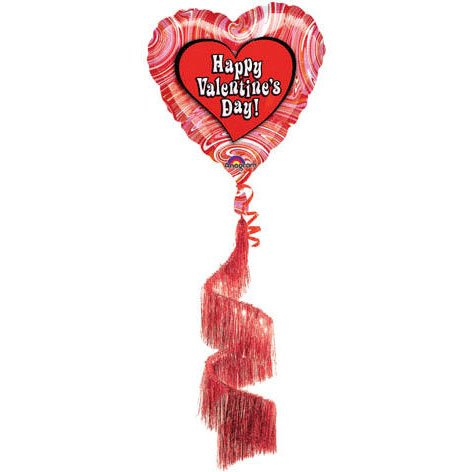 Air Walker--Valentine's Retro Marble Balloon, 36 X 68 With Coil Tail