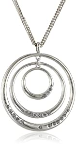 "Kenneth Cole New York ""Geometric Pave"" Pave Circle Orbital Long Pendant Necklace, 35"""