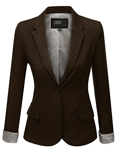 J.Tomson Womens Boyfriend Blazer Brown Small