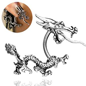 316L S. Steel Dragon Earring, 14G - 3/8