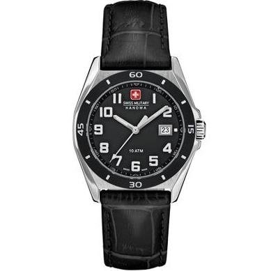 Swiss Military Hanowa Black Croco Leather Guardian Ladies Watch