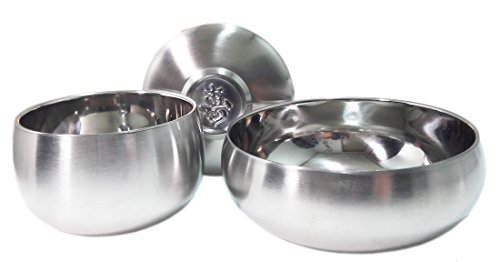 Vacuum Insulated Double Wall Skin Stainless Steel Round Korean Traditional Rice Bowl Soup Bowl Set.Metal Dinnerware (Stainless Steel Rice Bowl compare prices)