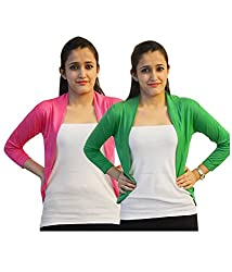 Trendy combo of Green & Pink Short Shrugs by Bfly
