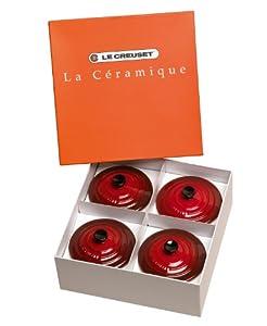 Le Creuset Set of 4 Mini Casseroles Cherry 91006900060000