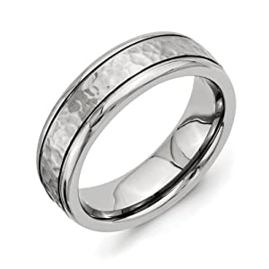 Titanium 7mm Grooved Edge Hammered and Polished Band Size 7
