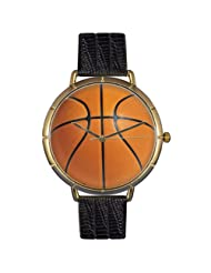 Whimsical Watches Mens N0840005 Basketball Lover Black Leather And Goldtone Photo Watch