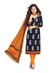 Taos Brand cotton dress materials for women womens dress materials cotton salwar suit New Arrival latest 2016 womens party wear Unstitched dress materials for women (1410 summer__orange and blue_freesize