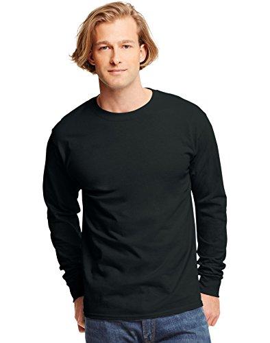 hanes-t-shirt-a-manches-longues-homme-noir-noir-moyen