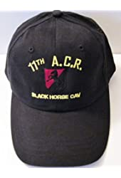 """11TH ARMORED CAVALRY REGIMENT*11TH ACR """" BLACK HORSE CAV"""" EMBROIDERED BLACK EMBLEM Ball Cap/ Hat (Black & Red Horse Background)"""