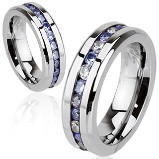 Stainless Steel Eternity Ring with Half Tanzanite and Half Clear & Tanzanite CZ Combination - size UK M (USA 6) diameter 51.9
