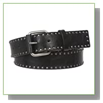 Snap On Antique Circle Metal Studded Leather Belt Size: L - 39 Color: Black