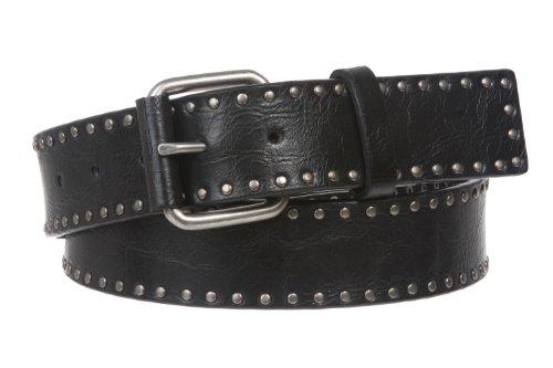 Snap On Antique Circle Metal Studded Leather Belt Size: M - 36 Color: Black