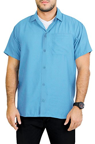 La Leela Hawaiian Shirt For Men Short Sleeve Front-Pocket Plain Sky Blue M (Light Blue Short Sleeve Shirt compare prices)