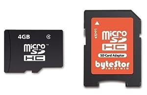 ByteStor Carte mémoire Micro SDHC Class 4 avec Adaptateur SD 4 Go