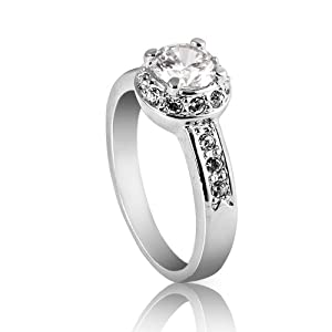 FASHION PLAZA Jewelry Lady Women Cubic Zirconia Engagement Ring with Cubic Zirconia shoulders (Available In Sizes K L N P R) R67-R