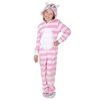 Girls Stripey Bear Hooded Fleece All In One Pyjamas Onesie With Feet 10-11 Years