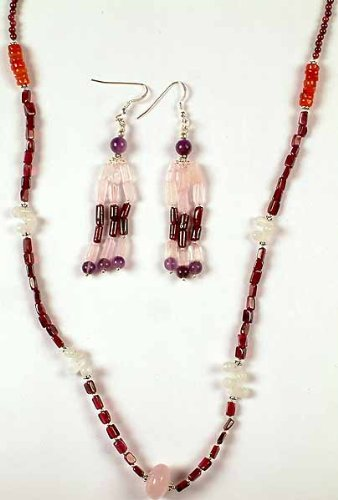 Gemstone Necklace with Matching Earrings - Sterling Silver