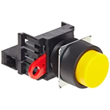 Omron A22-TG-10M Projection Type Push Button and Switch, Screw Terminal, IP65 Oil-Resistant, Non-Lighted, Momentary Operation, Round, Green, Single Pole Single Throw Normally Open Contacts