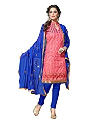 7 Colors Lifestyle Pink Coloured Embroidered Chanderi Unstitched Dress Material - B0114MAES0