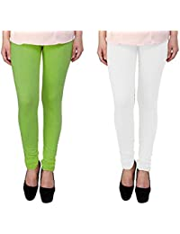 Snoogg Womens Ethnic Chic Inspired Churidar Leggings In Light Green And White