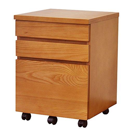 サイドチェスト デスク 42cm 木製 天然木 デスクサイド パイン 書斎 袖机 引出 NFC-014LB