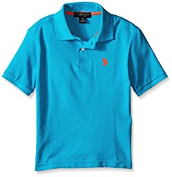 U.S. Polo Assn. Big Boys\' Short Sleeve Pique Polo with Small Pony, Teal Blue, 10/12