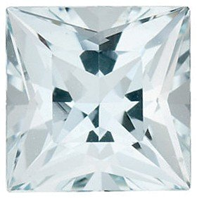 Princess Shape Aquamarine Natural Real Gemstone, Quality Grade, B 0.44 carats 4.50 mm