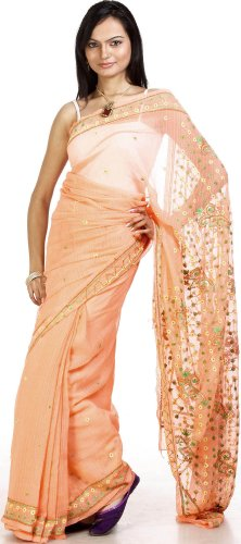 Exotic India Salmon Sari from Lucknow with Embroidered Flowers  Salmon