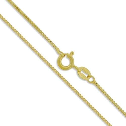 """Sterling Silver Yellow 22K Gold Plated Box Chain 1.2Mm 925 Italy Necklace 16"""" Valentines Day Gift"""
