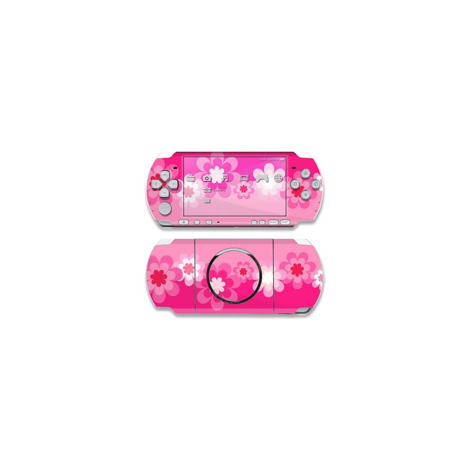 Retro Pink Flowers Design Decorative Protector Skin Decal Sticker for Sony PSP 3000