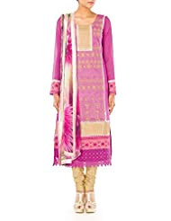 Cbazaar Pink Embroidered Straight Suit Bust: 34""