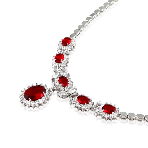 Rizilia Jewellery Oval Cut 18K White Gold Plated Red Ruby Necklace For Party Prom Dress
