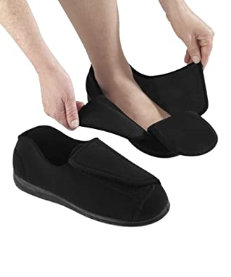 Extra Wide Mens Slippers - Black 7