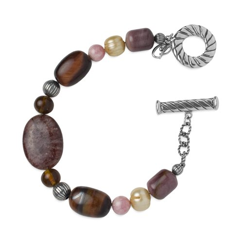 Carolyn Pollack Sterling Silver, Tiger Eye, Amber, Rhodochrosite, Pearl, Mookaite and Muscovite Beaded Bracelet