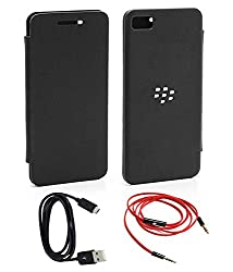 TBZ Flip Cover Case -Black for BlackBerry Z10 / BB10 with AUX Cable and Data cable