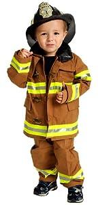 Jr. Fire Fighter Suit with helmet, size 2/3 (tan)