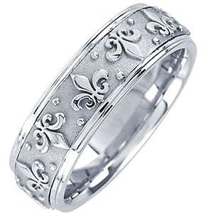 Amazon.com: 14k White Gold Fleur-De-Lis Wedding Band (7 mm): Jewelry