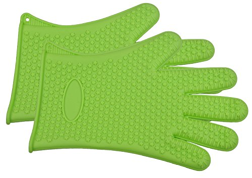 Cutequeen Silicone BBQ Gloves Max Heat Resistant Grilling for BBQ,Grill,Oven,Smoking and Cooking Gloves, Baking,Green(pacl of 2) (Bbq Gloves Green compare prices)