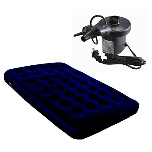 North Gear Super Flocked Fleece Double/Full Air Bed Mattress + Electric Air Pump
