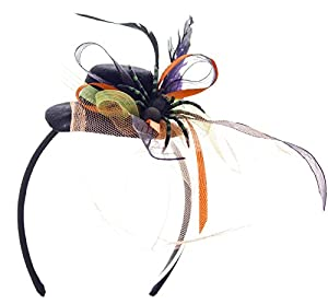 Halloween Spider with Ribbon, Feathers Mini Hat on Headband, Orange Tulle by Linda Ann