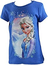 Disney Frozen Elsa Selfie Royal Blue Girls Youth Fitted T-Shirt Sizes 4-12
