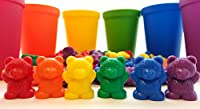 60 Rainbow Counting Bears with Color Matching Sorting Cups Set - Montessori Toddler Counters & Preschool Manipulative Toys - Free Activity Guide Download by Skoolzy