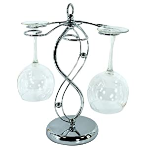 Artistic Elegant Silver Tone Countertop Metal Floating 6 Wine Glass Holder Stemware Stand... by MyGift