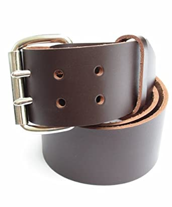 mens heavy duty chocolate brown leather belt 2 quot wide