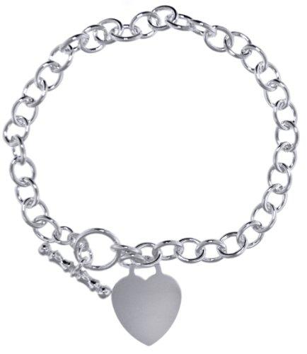 Silver Small Oval Belcher with Heart Charm T-Bar Bracelet 7.13cm