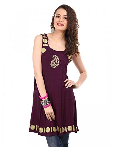 Ira Soleil Women's Viscose Knit Sleeveless Kurti, Purple, M
