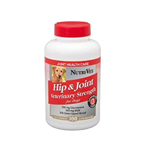 Nutri-Vet Hip and Joint Level 3 Veterinary Strength Liver Chewable for Dogs, 100-Count