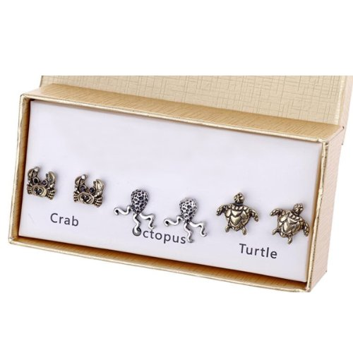 3 Pairs Antique Marine Animal Stud Earring, Crab, Turtle and Octopus